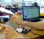 Yann Seznec testing broad knitted stretch sensor with Ableton